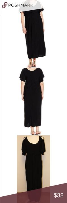 """Cut-Out Shoulder Empire Waist Dress - Size 1X Brand new black dress with tags, size 1X. It has cutout shoulders with flutter sleeves; has round neck; has empire waist with drawstring to adjust to your body type; is made in the US; and is wrinkle-free. Made by Star Vixen and material is 95% polyester and 5% spandex. Dress is smooth, comfy, and stretchy. It measures 49"""" long and about 22"""" armpit to armpit. Please refer to size chart on picture #4. Star Vixen Dresses Maxi"""