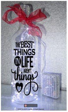 "LED 6"" Glass Light Up Heart Bottle Lamp Memorial Mum Nan Aunty Friend Etc Angel"