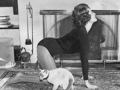 Image result for vintage doing yoga at home