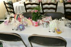 Everyone received a mini cup and saucer candle set and a hat pin cushion to bring home.