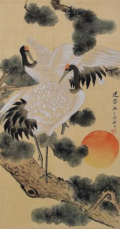 Asian watercolor of red-crowned cranes