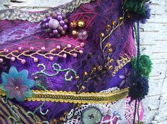 Bohemian Gypsy Hippie Fairy Purple Crazy Quilt Beaded Cross Body Purse Evening Bag via Etsy