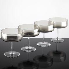4 Vintage Sektschalen Sektgläser Rauchglas Driburg Kristallgläser Gläser 60er F