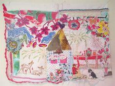 a BONNY COTTAGE Fabric Collage --Applique Embroidery Folk Art Quilt --Vintage Linens Redwork - Antique Red Work --Tablecloth Patchwork Chic Collage, Recycled Fabric, Applique, Fabric Art, School Projects, Fiber Art, Needlepoint, Folk Art, Needlework
