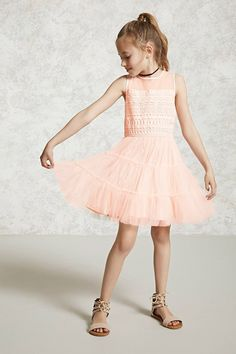 Forever 21 Girls - A sleeveless combo dress featuring a mesh and crochet bodice, a rounded neckline, layered tulle skirt, concealed side zipper, and a keyhole button closure. Girls Sports Clothes, Preteen Girls Fashion, Teenage Girl Outfits, Kids Outfits Girls, Girls Dresses, Flower Girl Dresses, Teenage Clothing, Girls Wear, Clothing Ideas