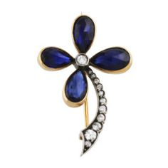 Late 19th Century Sapphire and Diamond Flower Brooch