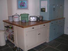 Handmade bespoke Farrow and Ball Kitchen. Free Standing Kitchen Units, Farrow And Ball Kitchen, Little Greene Paint Company, Shaker Doors, Sink Units, Bespoke Furniture, Traditional Kitchen, Kitchen Furniture, Cupboard