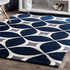 Shop for Carson Carrington Braedstrup Handmade Navy Area Rug. Get free delivery at Overstock - Your Online Home Decor Store! Get in rewards with Club O! Navy Blue And Grey Living Room, Blue Living Room Decor, Rugs In Living Room, Blue Home Decor, Blue Grey, Blue Ivory, Navy And White Rug, White Rugs, Blue Chevron