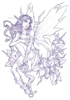 Pencil - Blueberry Fairy by bluessence on DeviantArt Fairy Coloring Pages, Adult Coloring Pages, Coloring Books, Elfen Fantasy, Fantasy Art, Fairy Drawings, Pencil Drawings, Arte Cholo, Images Noêl Vintages
