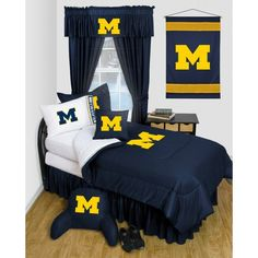Looking for new dorm bedding? Got you covered. College Bedding Sets, Dorm Bedding, Comforter, Sports Bedding, Illinois Fighting Illini, Go Big Blue, Michigan Wolverines, Full Bed, Queen