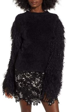 7ae0a22d4f6 Endless Rose SR103T- FUZZY KNIT SWEATER BLACK