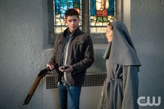 """Supernatural -- """"Paint It Black"""" -- Image SN1016B_0005 -- Pictured (L-R): Jensen Ackles as Dean and Rachel Keller as Sister Mathias -- Credit: Liane Hentscher/The CW --  © 2015 The CW Network, LLC. All Rights Reservedpn"""