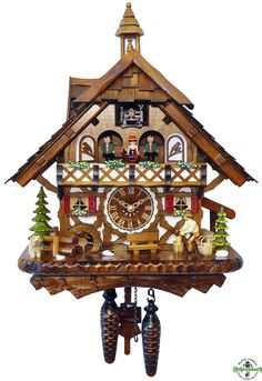 Cuckoo Clock - Quartz Chalet with Woodchopper & Dog - Engstler