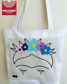 Embroidery fraid Kahlo leather tote bag with felt flower