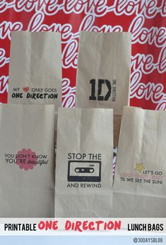 One Direction Printable Lunch Bags - perfect for a party or just because... (your 1D fan will LOVE you!) www.thirtyhandmadedays.com