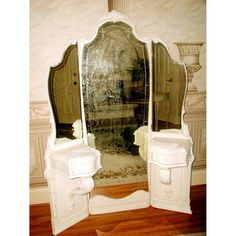 Image of Antique 19th C French Tri-Fold Mirrored Vanity
