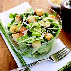 High-calorie Caesar gets a healthy makeover. The croutons are coated with cooking spray instead of olive oil, and the egg yolk is replaced with light mayonnaise to keep the classic dressing's creamy texture — without the classic guilt.