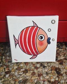"""Tableau """"Le petit poisson rouge"""" : Décorations murales par les-toiles-de-mer-de-syl"""