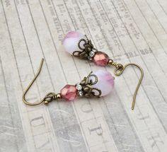 Pink Earrings, White Earrings, Victorian Earrings, Czech Glass Beads, Antique Gold Earrings, Womens Earrings, Gifts for Her, Gold Earrings by SmockandStone on Etsy