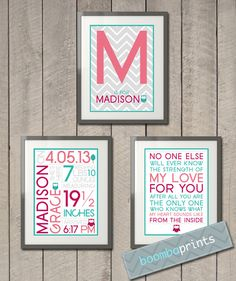 Personalized Modern Owls Nursery Collection  by BoombaPrints, $24.95
