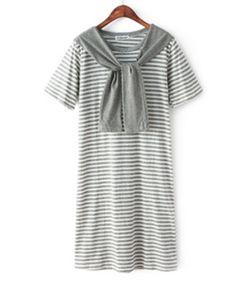 Kurzer Ärmel Streifen Gerade Kleid aus Baumwoll-Mischungen