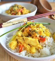 Curry poulet-ananas au lait de coco et riz basmati