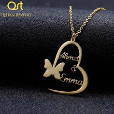Personalized Handmade Butterfly Heart Necklaces