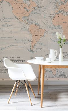 Vintage map mural muralswallpaper maps pinterest vintage create a decadent dining space with this elegant world map wallpaper brilliant peachy hues work gumiabroncs Gallery