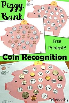 FREE printable Piggy Bank Coin Matching activity to teach children to recognize coins and their value in cents.