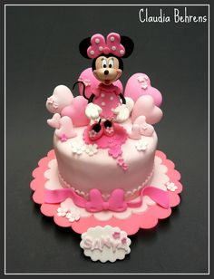 minnie cake - love the cartoon heart balloons Mickey Mouse Torte, Minni Mouse Cake, Mickey And Minnie Cake, Bolo Minnie, Minnie Mouse Birthday Cakes, Mickey Cakes, Mickey Birthday, Cake Pictures, Novelty Cakes