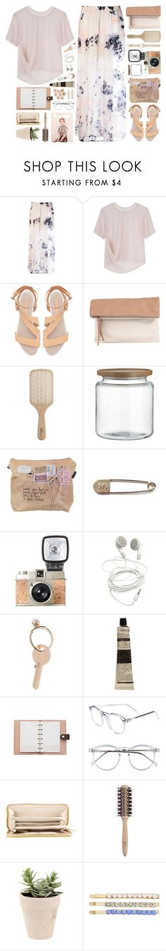 """barely there pink."" by missstaylor ❤ liked on Polyvore featuring Raquel Allegra, Tom Scott, Zara, Pietro Alessandro, Philip Kingsley, Crate and Barrel, Maison Margiela, Aesop, Louis Vuitton and Wildfox"