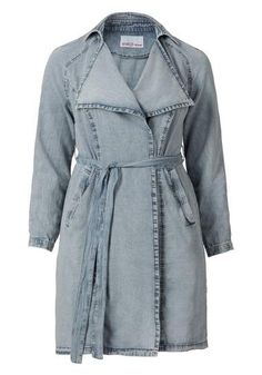 Sheego Denim Trend jeans-trenchcoat met bindstrik acid washed blue 1980s look spijkerstof