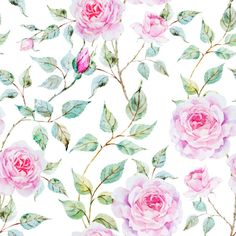 Rose Flower Background Patterns Graphic by WatercolourClipArt