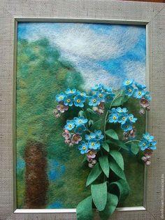 """Картины цветов ручной работы. Ярмарка Мастеров - ручная работа. Купить Объемная картина из шерсти """" Незабудки"""". Handmade.…"""