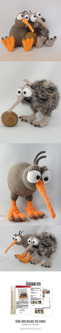 Pattern to buy $5.80 - Kirk And Wilma The Kiwis Amigurumi Pattern