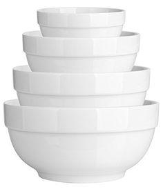 DOWAN 4-Piece Porcelain Mixing/Serving Bowl Set- 12- 22 - 42 - 64 OZ, White, Anti-slipping Nesting Bowls $27