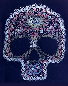 Day of the Dead... metallic markers and implied line!