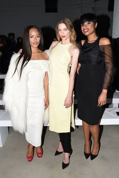 (L-R) Serayah Mcneill, Jamie King, and Jennifer Hudson attend the Cushnie Et Ochs Fall 2016 fashion show during New York Fashion Week: The Shows at The Gallery, Skylight at Clarkson Sq on February 2016 in New York City. Fall Fashion 2016, Fashion Week, New York Fashion, Fashion Show, Jamie King, Jennifer Hudson, Nyfw Street Style, Black Celebrities, Prabal Gurung