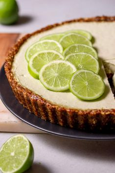 Our raw vegan key lime pie recipe is quick and easy to make as well as being gluten free and raw too! Find our gluten free vegan key lime pie recipe here Gluten Free Key Lime Pie, Vegan Key Lime Pie, Vegan Pie, Vegan Food, Healthy Pie Recipes, Delicious Vegan Recipes, Raw Food Recipes, Key Lime Pie Cheesecake, Vegan Cheesecake