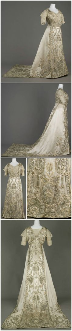 Evening dress, by Weeks, Paris, 1911, at the Chicago History Museum. Worn by Mrs. Bertha Honoré Palmer for the coronation of King George V in London. Off-white silk satin dress with V-shaped neckline in front and back; yoke and short sleeves of Brussels lace. Bodice covered in floral silk floss embroidery, trimmed with metallic lace, studded with rhinestones and beaded; skirt embroidered at center front in similar way. Attached train has squared hem and extends from bottom back edge of…