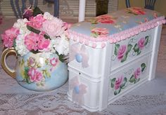Vintage Hand Painted Sewing Machine Drawer