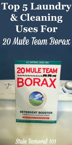 Top five 20 Mule Team Borax uses for laundry and cleaning around your home on Stain Removal 101 Deep Cleaning Tips, House Cleaning Tips, Cleaning Solutions, Spring Cleaning, Cleaning Hacks, Borax Cleaning, Green Cleaning, Cleaning Recipes, Borax Uses