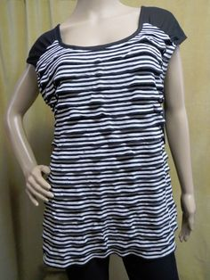 22aed50d1a0 AB STUDIO Sleeveless Scoop Neck Ruffle Tiered Tunic Top Black Wht Size XL  16 NWT
