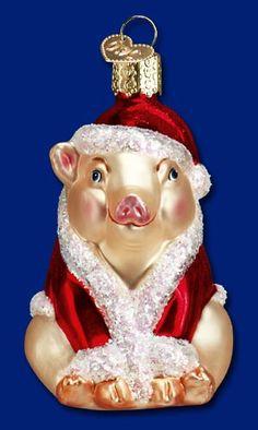 Christmas Ham,  Old World Christmas Glass Ornaments  Piggy