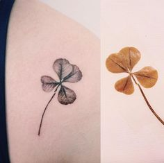 Realistic black and grey ink clover by Tattooist Doy