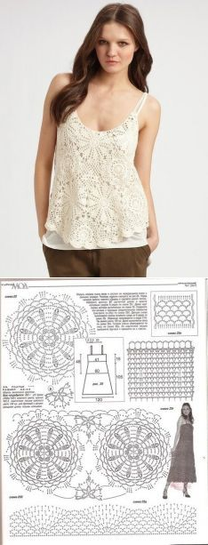Summer top from round motives. The scheme of a top a hook on shoulder straps   Housekeeping for all family.