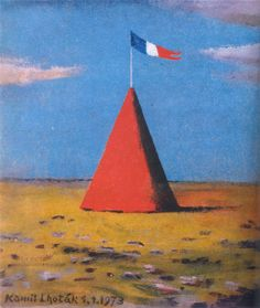 Kamil Lhoták - Red tent (1973) #painting #art #Czechia #CzechArt