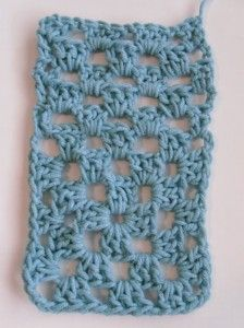 How to make a granny square into a rectangle.  This is what your swatch will look like if you use only one color.