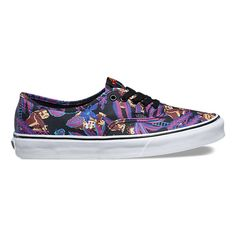 Vans and Nintendo come together to celebrate the early days of video games with a truly unique collaboration featuring one-of-a-kind graphic prints. Showcasing 8-bit artwork of Nintendo's iconic characters, the Nintendo Authentic combines the original Vans low top style with an allover Donkey Kong print, sturdy canvas uppers, metal eyelets, and custom GAME OVER signature rubber waffle outsoles.