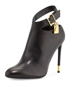 X2QJW TOM FORD Leather Ankle-Strap Bootie, Black